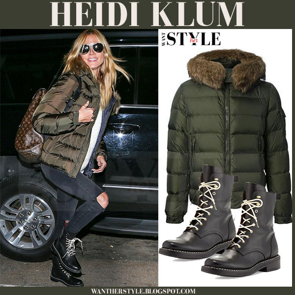 Heidi Klum in green moncler jacket and black ankle boots what she wore