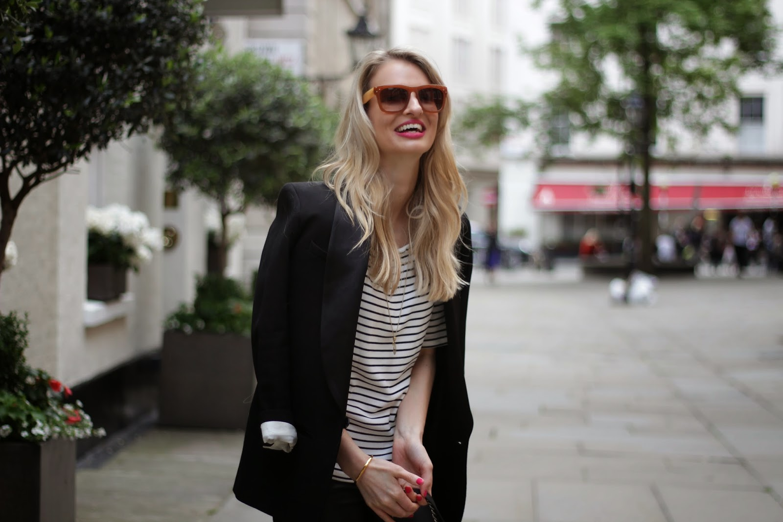 celine style sunglasses, striped top, black blazer, boyfriend blazer