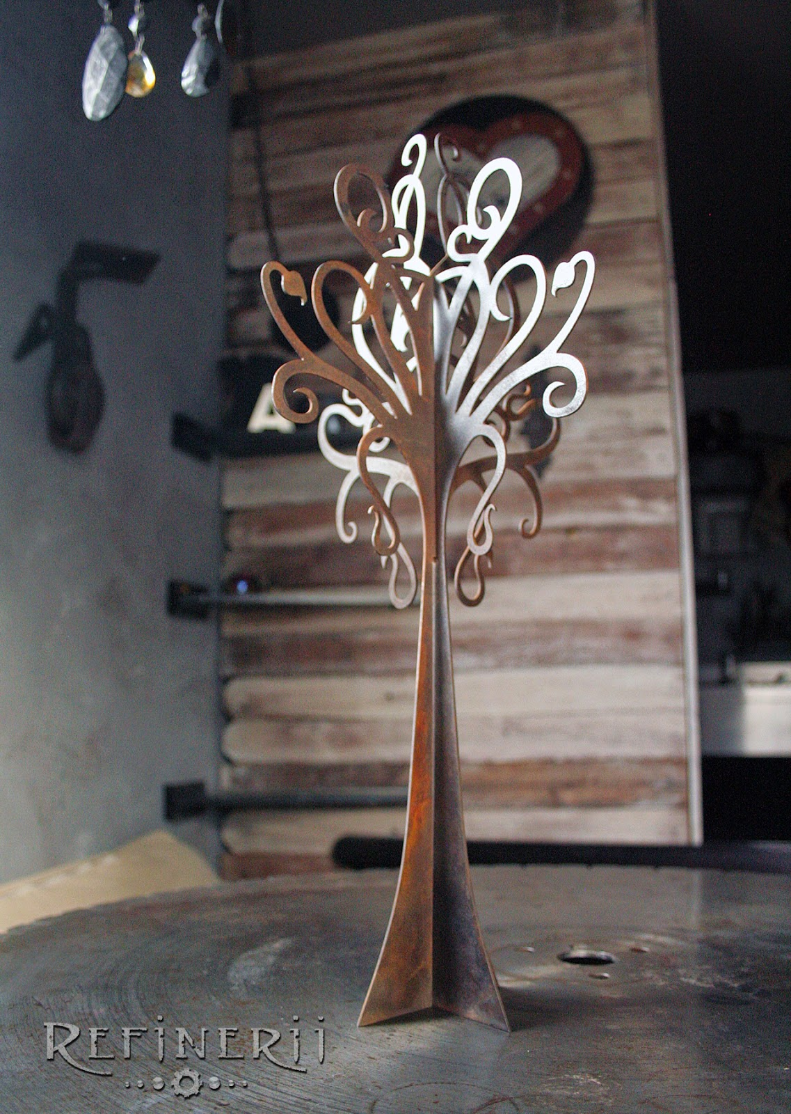 "Metal tree three-dimensional sculpture.  18"" tall; perfect jewelry stand or table top piece"