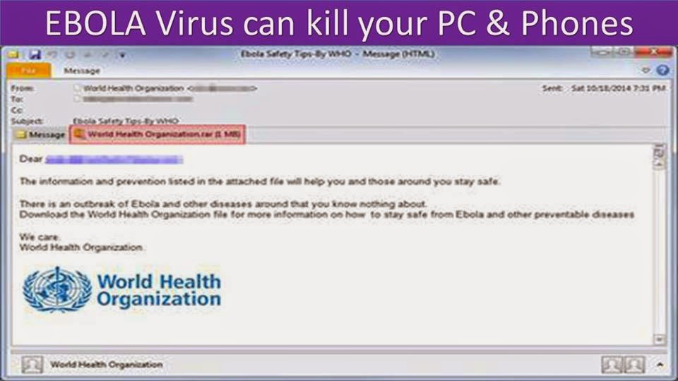 EBOLA virus mail hacking: How EBOLA Virus can kill your PC / Tablet and Smart Phones