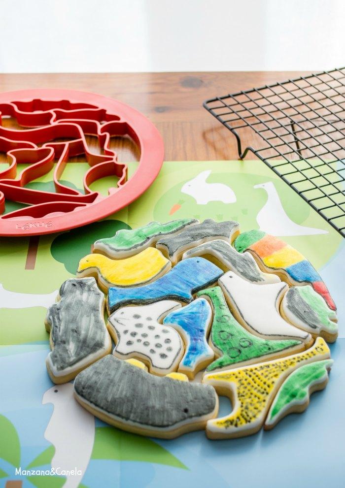 Galletas puzzle para pintar con niños