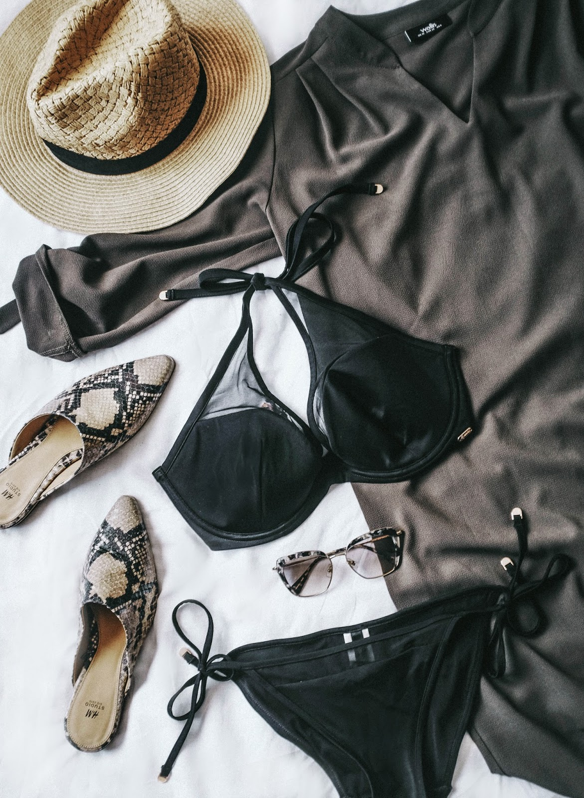 Gossard Black Halterneck Bikini Snake Print Pointed Mule Sandals Matalan Sun Hat Khaki Wallis Kaftan and Miu Miu Square Sunglassesress