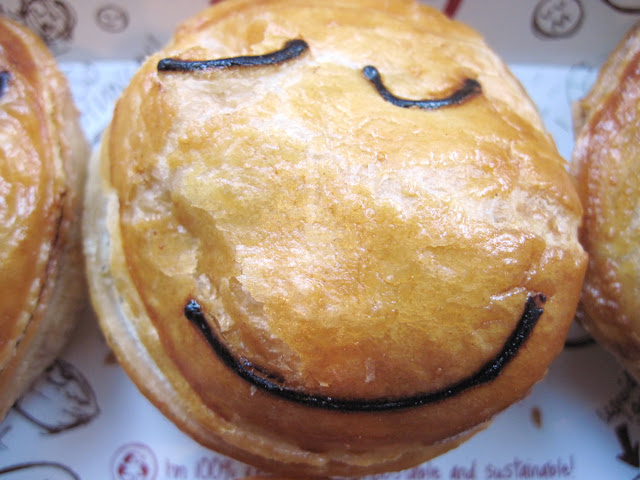 Smiling meat pies welcome you at the New in New York restaurant Pie Face