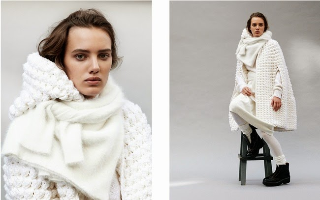 Saint Laurent 2014 AW White Wool Hand-Knit Cape With Hood