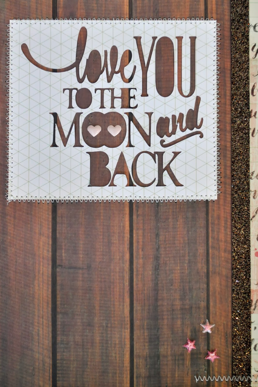 love you to the moon and back scrapbook page 12 x12 inspiration layout silouhette cut file title phrase baby photos brown wood panel i love you cream ivory pink glitter ribbon stars pink hearts