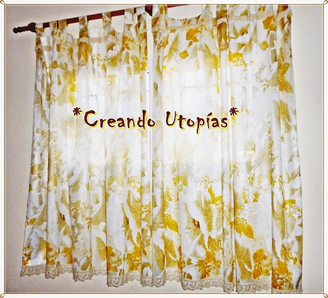 Creaciones mdo cortina con flores amarillas for Cortinas amarillas