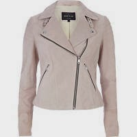 Light pink Suede Moto Jacket