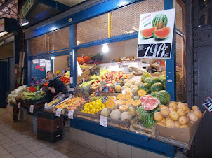 """Vegetables and fruits in """"Central Market Hall""""."""