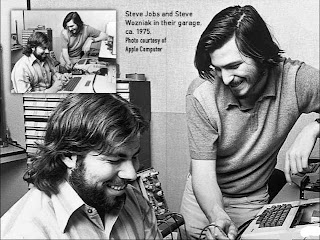 black hats and wallpaper, steve jobs and steve woznaik, woz, designing apple