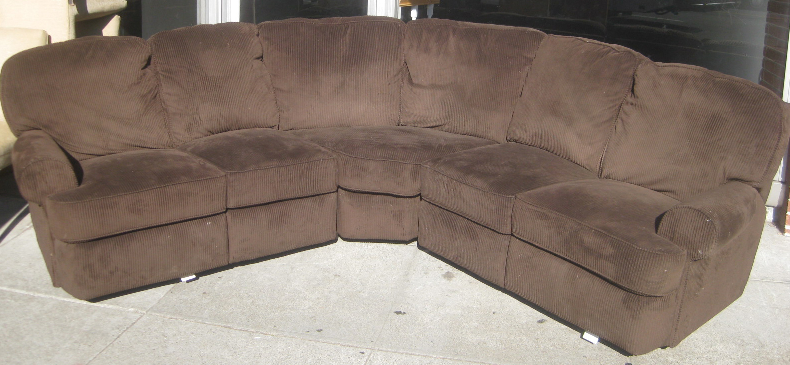Uhuru furniture collectibles sold corduroy sectional for Sectional sofa with reclining ends