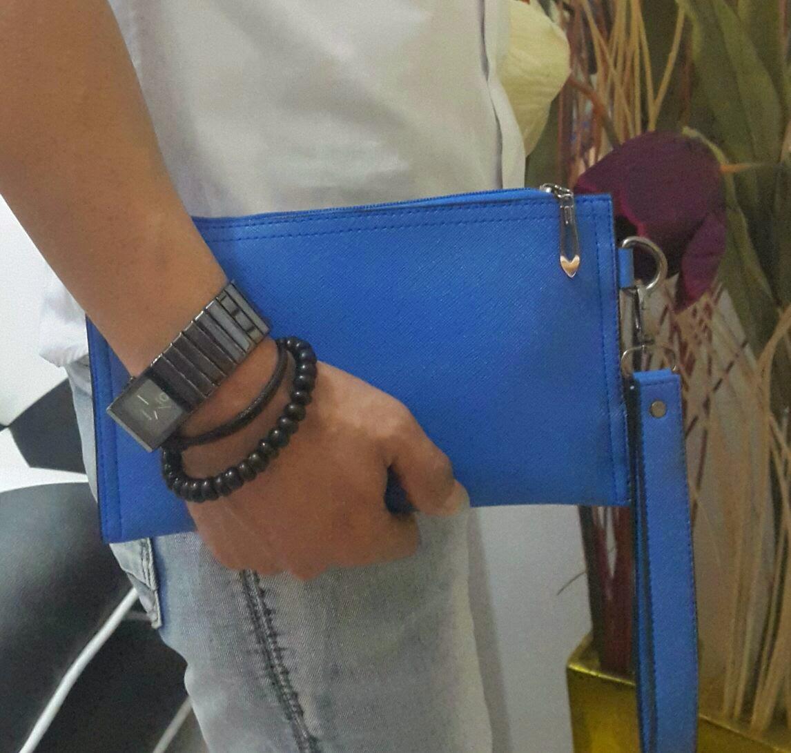jual online mini clutch bag warna biru tosca terbaru untuk cowok dan cewek