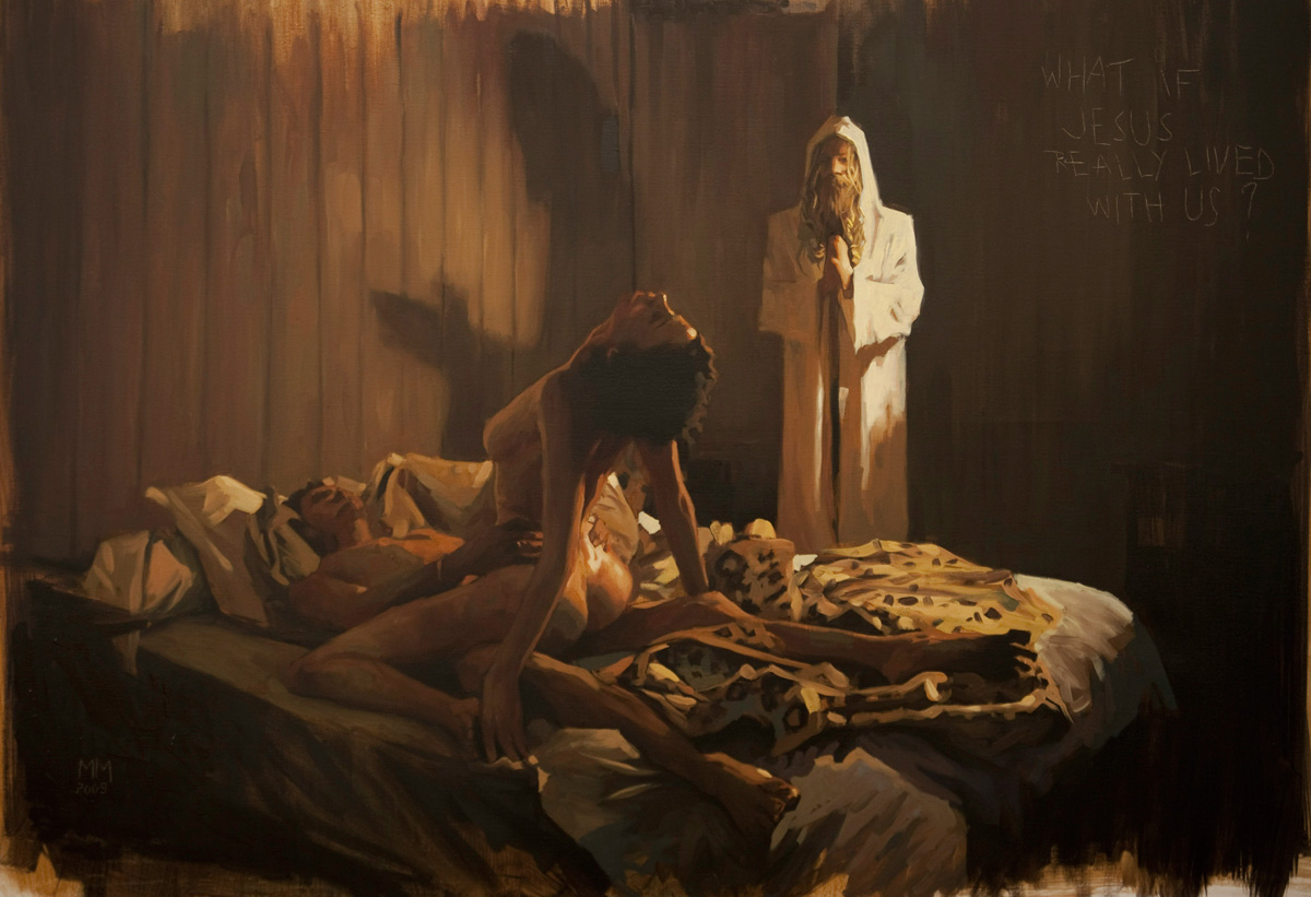 Doctor Ojiplatico. Mark Maggiori. Paintings. The Blessed event | What if Jesus really lived with us?