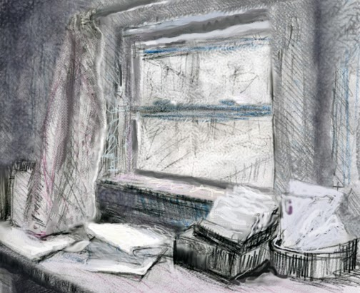 drawing of papers by a window; (c)JudeSpacks2014