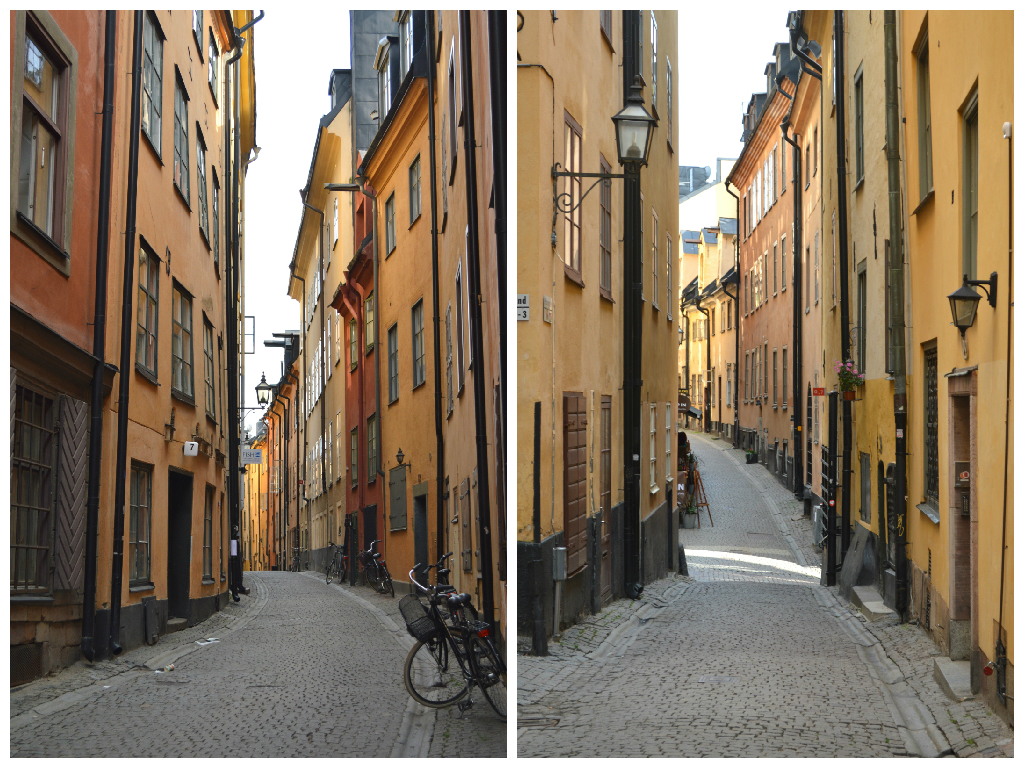 Coloured streets in Gamla Stan, Stockholm