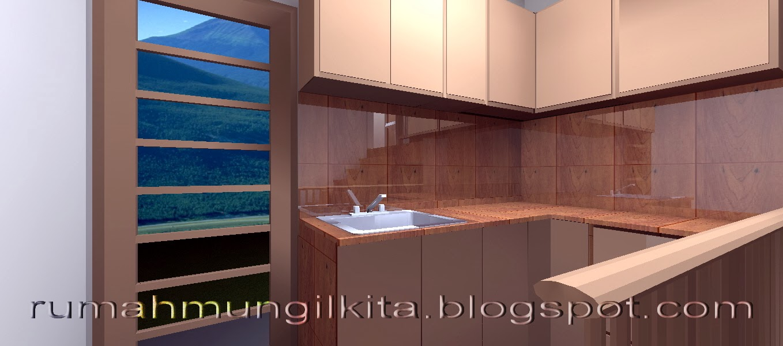 dapur L mungil dengan meja beton