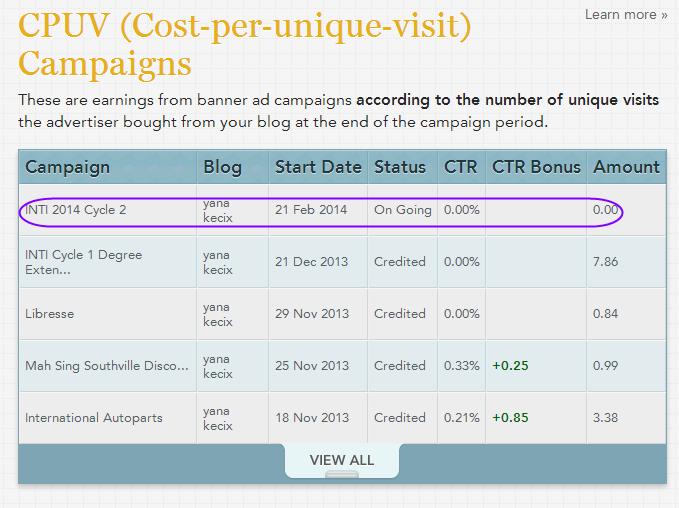 CPUV NUFFNANG KE-18: INTI 2014 CYCLE 2, CARA CASHOUT NUFFNANG, cara mendapatkan earnings cpuv nuffnang,