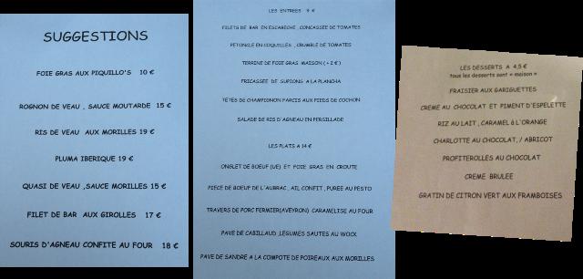 image carte Restaurant Faubourg 73 à Montauban