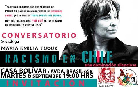 SANTIAGO: CONVERSATORIO, SOCIÓLOGA MARIA EMILIA TIJOUX, RACISMO EN CHILE