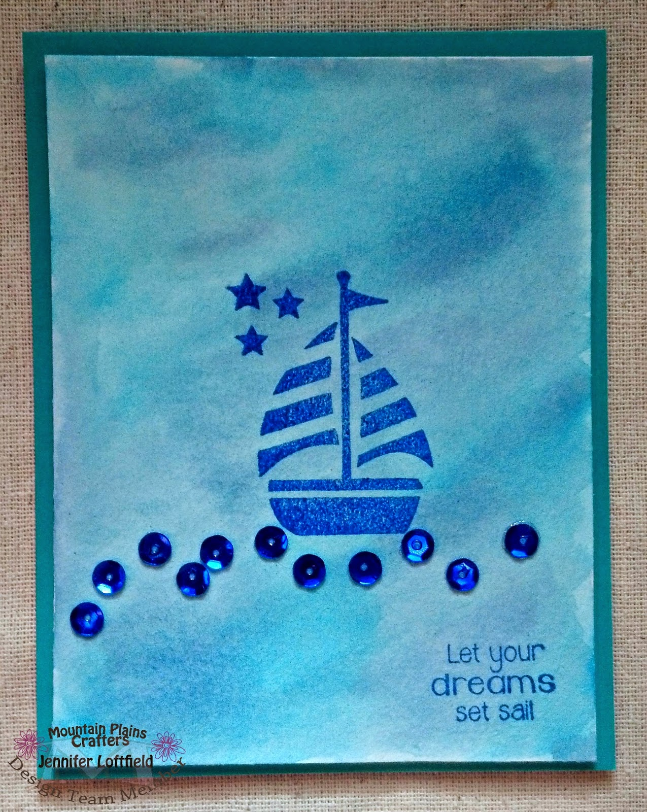 unity stamp sail away boat pretty pink posh sequins masculine card