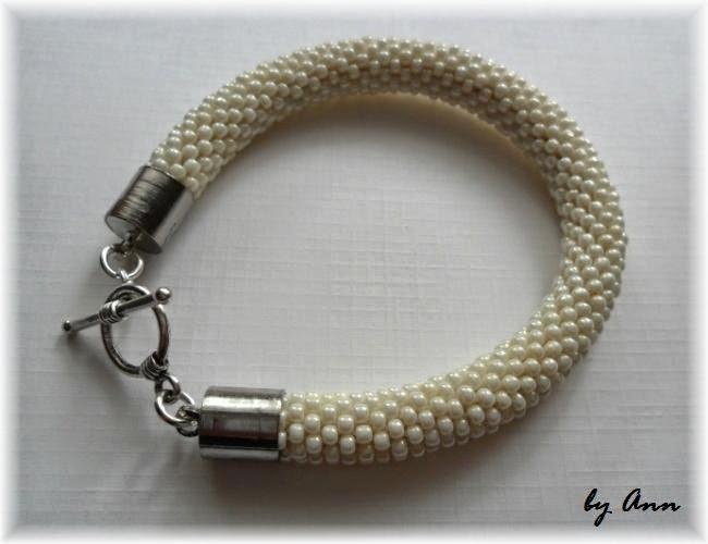 biżuteria ślubna wąż koralikowy kremowy śmietankowy ecri