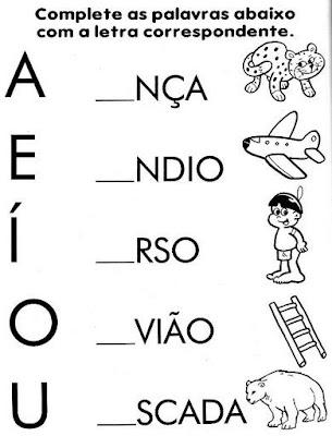 Atividades com vogais - Complete