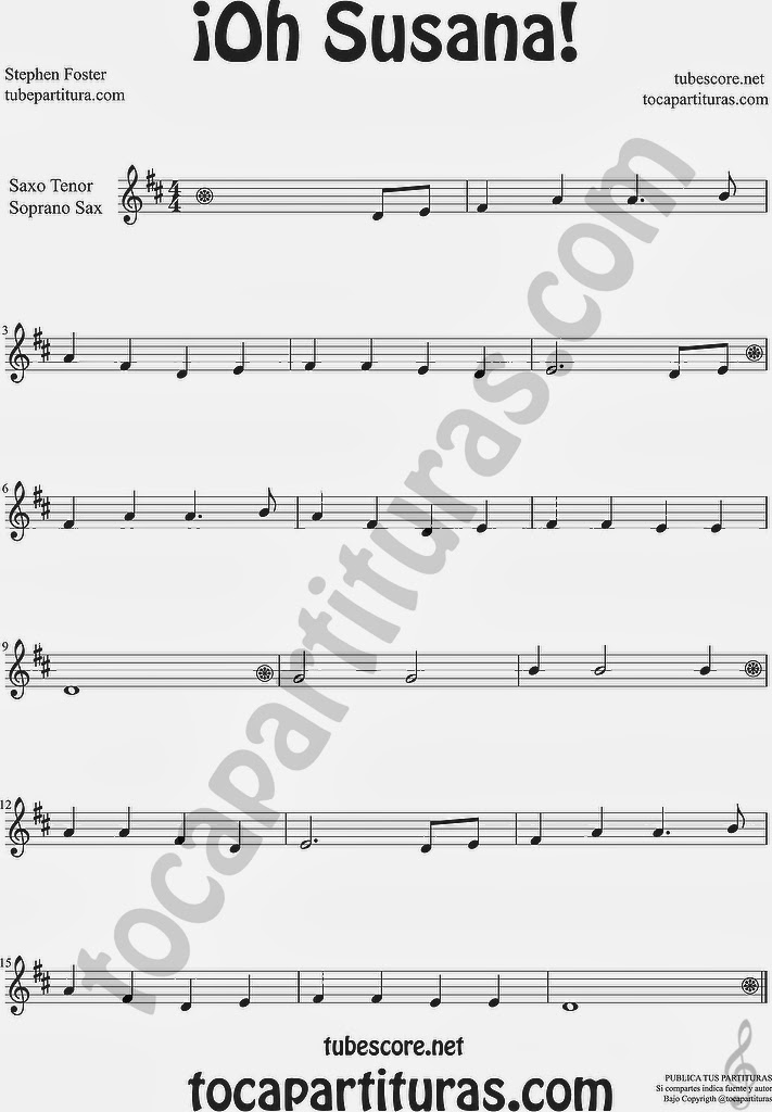 ¡Oh Susana! Partitura de Saxo Tenor y Soprano Sax Sheet Music for Tenor Saxophone and Soprano Sax