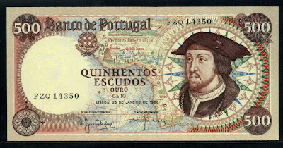 Portugal bank notes 500 Escudos banknote, King João II