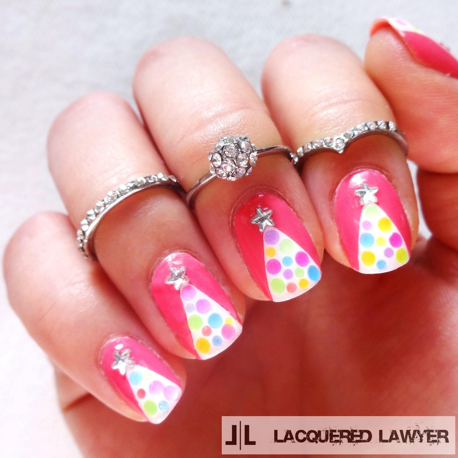 Pink Christmas Nail Art