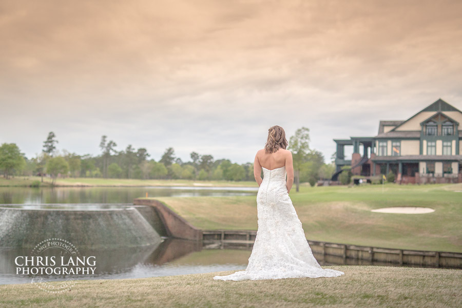 River Landing Wedding Photography  - Image of bride in wedding dress over looking the waterfall