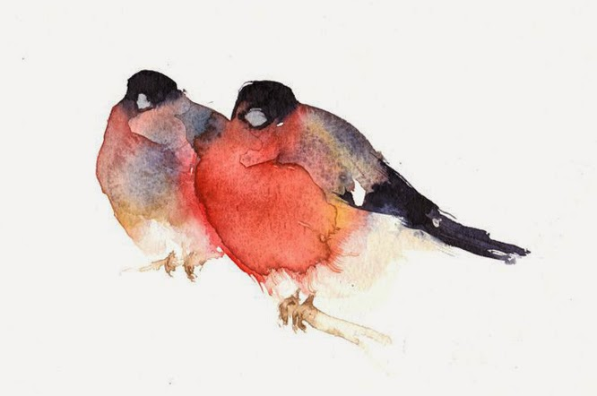 Kate Osbourne watercolour bird paintings at the affordable art fair, London, June 2015