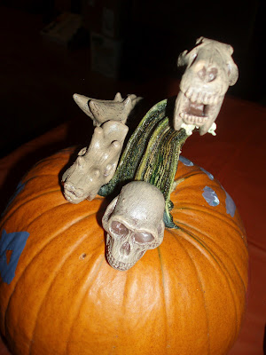 Safari Ltd Prehistoric Skulls on Pumpkin