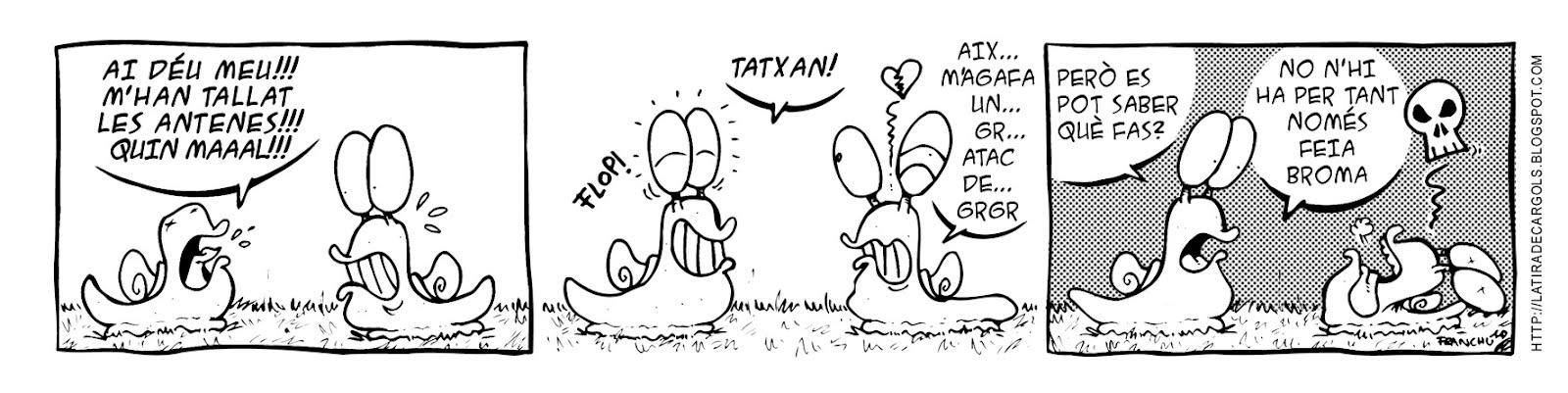 Tira comica 129 del webcomic Cargols del dibuixant Franchu de Barcelona