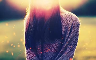 Long Haired Girl Sun Lights Sparkles HD Desktop Wallpaper