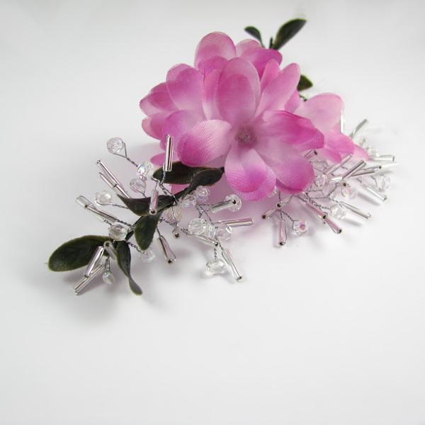 Kryształowe, ślubne gałązki do włosów z różowymi kwiatuszkami