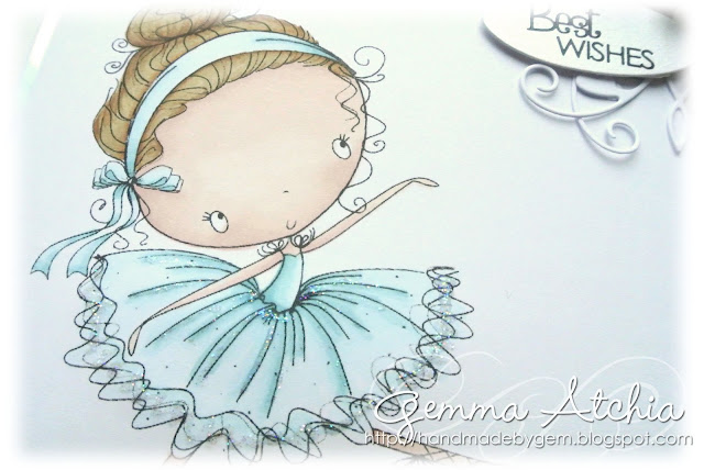 All Dressed Up, Abi the Ballerina, Promarkers, Flexmarkers, flowers, gems, blue, CAS, Clean and simple