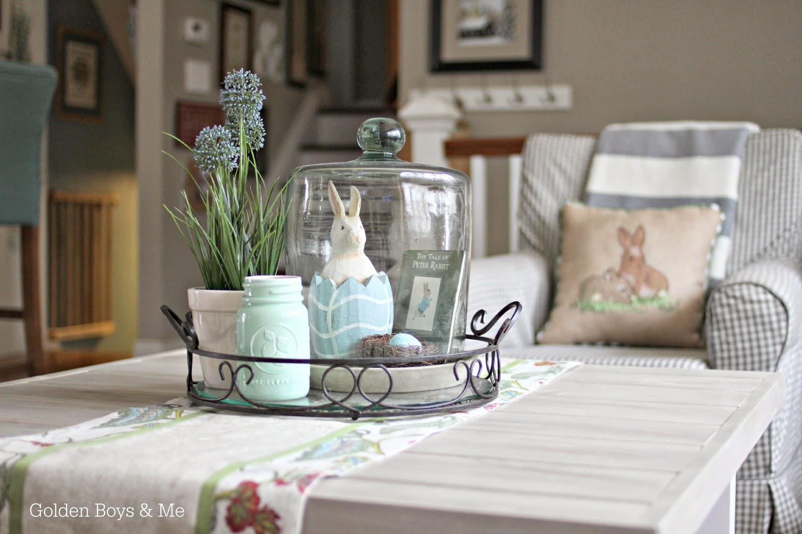 Spring Easter cloche with bunny and Peter Rabbit book with Jennylund chair and Ikea Hack Hemnes coffee table || www.goldenboysandme.com
