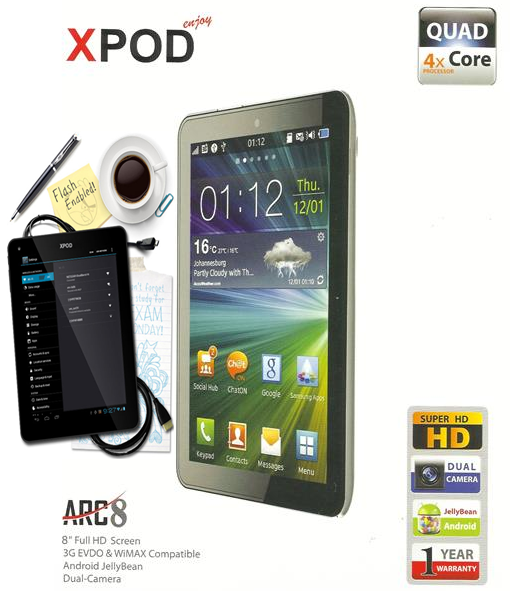 Xpod ARC8 8-inches Quad Core Tablet