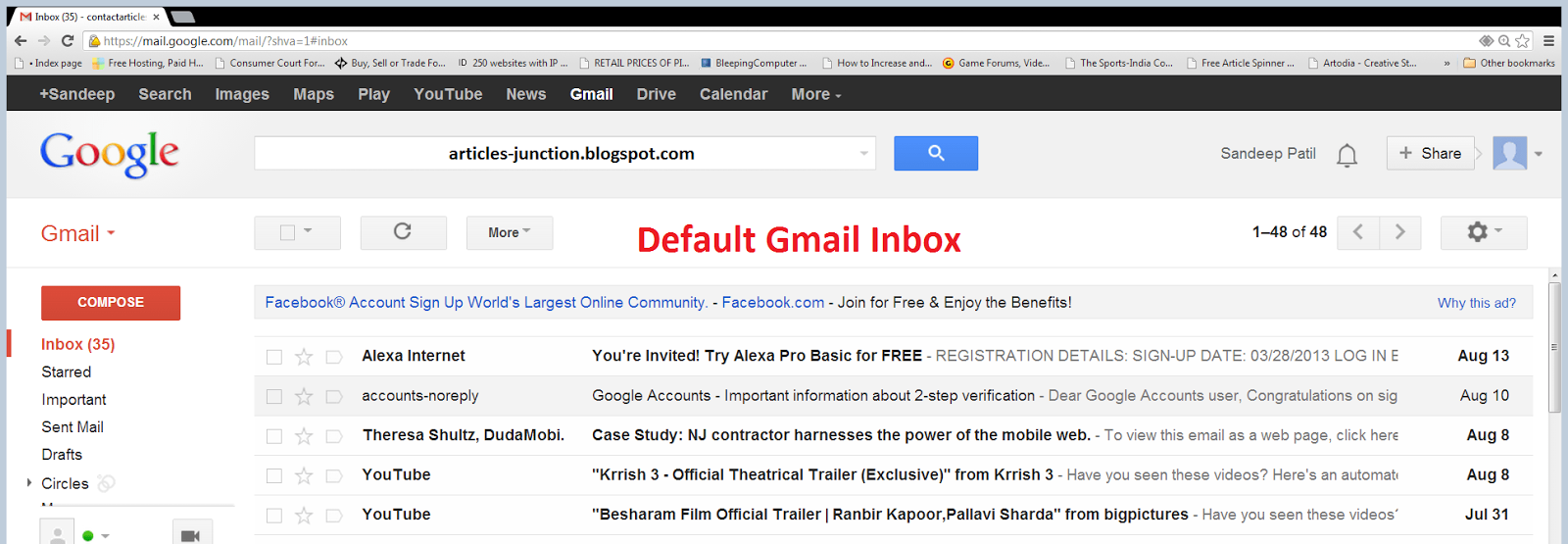 Default interface of Gmail