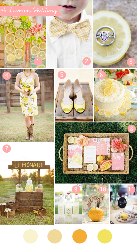 lemon wedding, yellow wedding, inspiration board, summer wedding