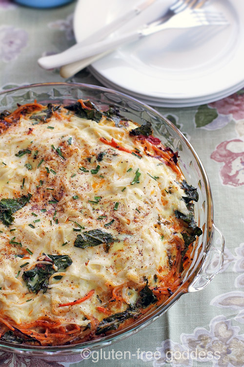 Easy and delicious. Gluten-Free Pasta Frittata with Kale (Dairy-Free)