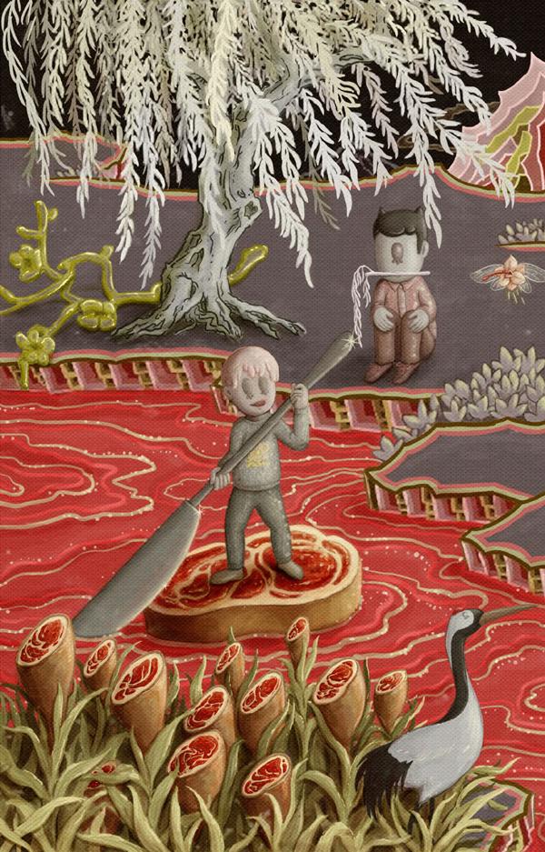Huihong Huang. Gris. Rojo. Amarillo. Illustration | ilustración