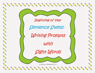 http://www.teacherspayteachers.com/Product/Beginning-of-year-Sentence-Stems-Writing-Prompts-with-Sight-Words-731808