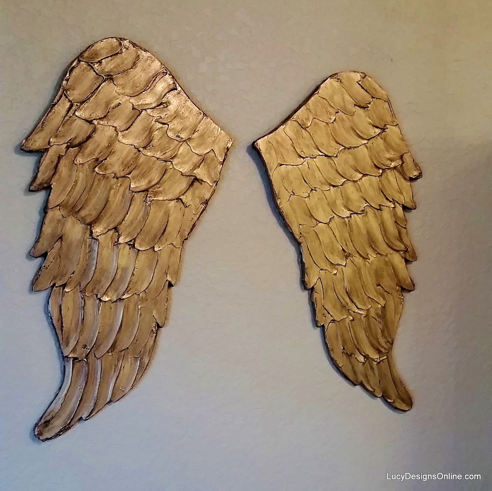 carved wood gold angel wings