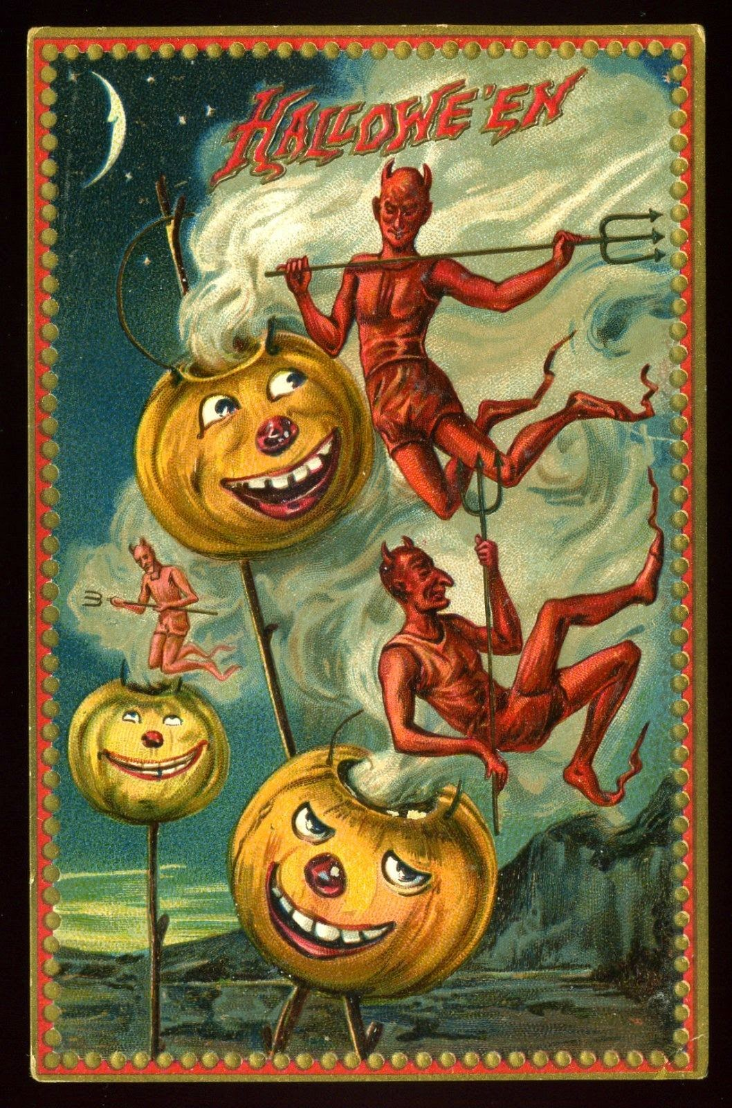 Postcard halloween Etsy