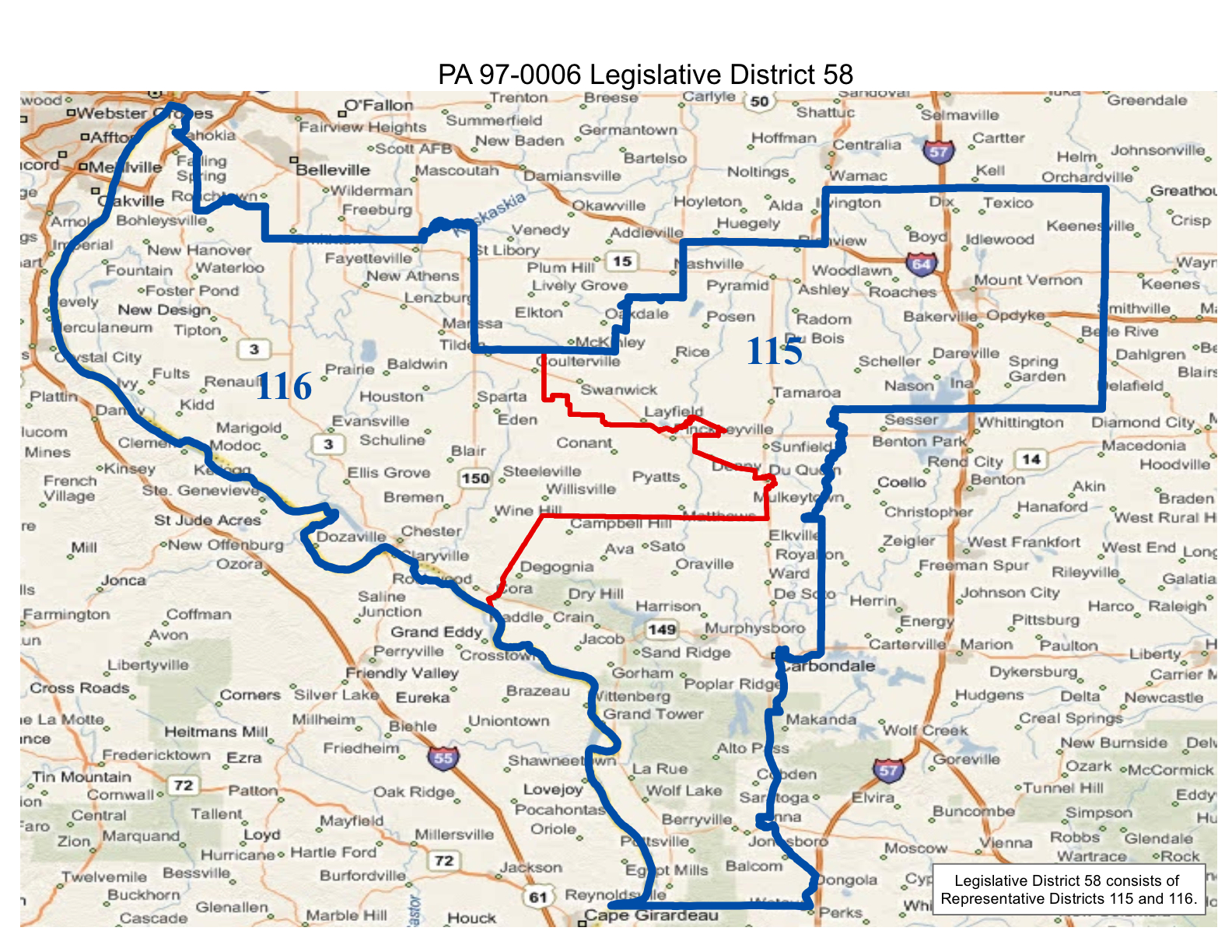 map of realigned illinois state senate district 58 and state representative district 115 and 116