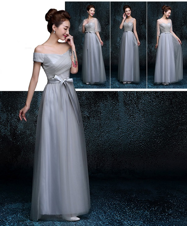 Exquisite Four-Neckline Design Tutu Lace Bridesmaids Dress