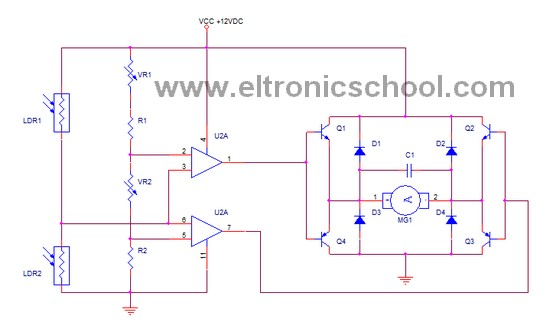 simple circuit schematic solar tracker system using lm324 ic rh eltronicschool com