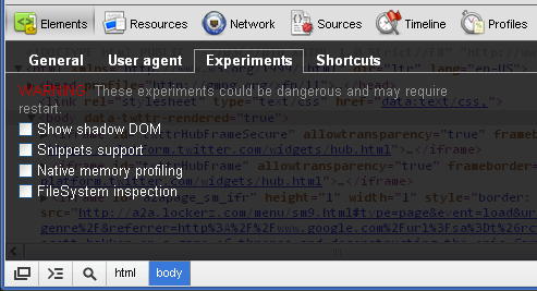 Google Chrome 21 Developer Tools Experiments