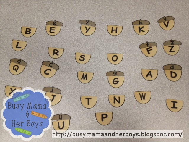 http://www.teacherspayteachers.com/Product/Uppercase-Lowercase-Acorn-Match-933397