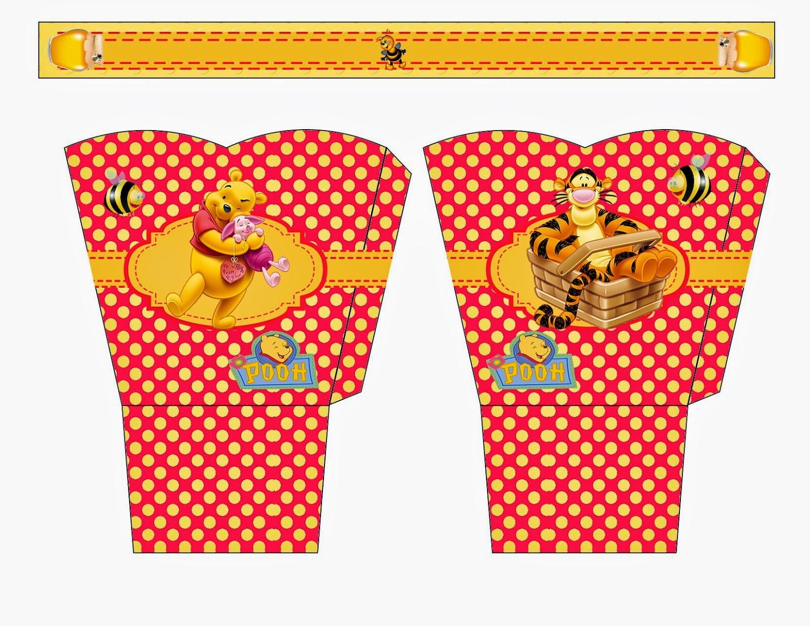 Winnie the Pooh: Cesta para Imprimir Gratis.